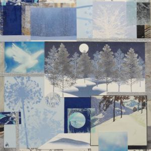 """All is Calm,"" assorted cards and papers on 12x12 artist panel"